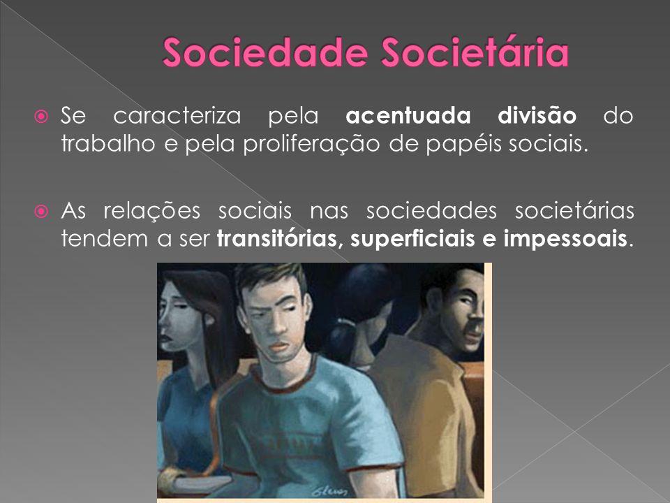 Sociedade Societária Se caracteriza pela acentuada divisão do trabalho e pela proliferação de papéis sociais.