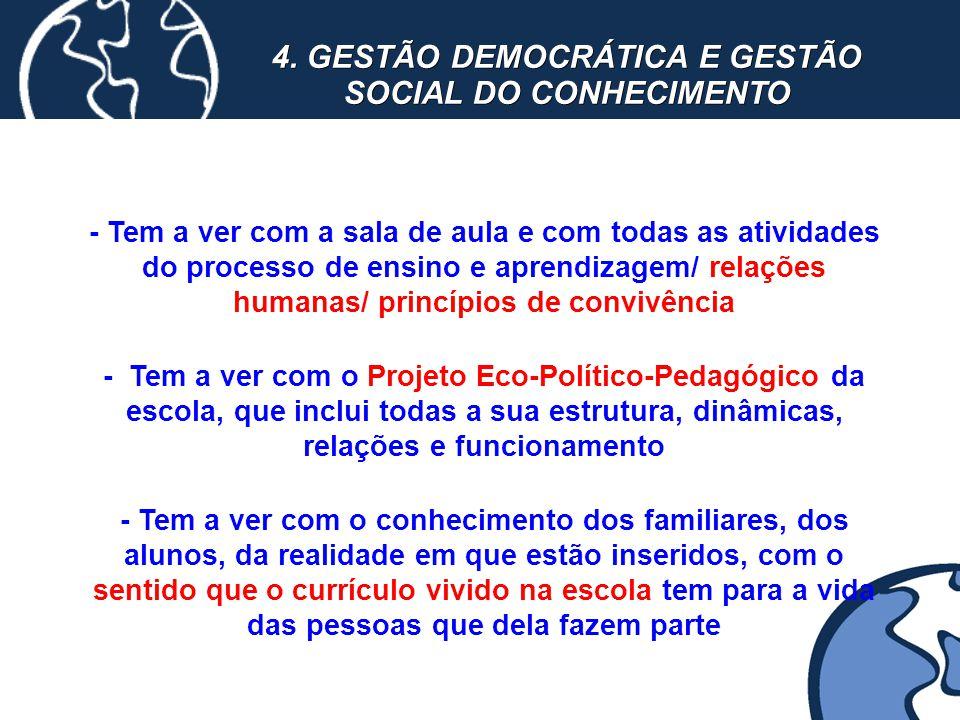 4. GESTÃO DEMOCRÁTICA E GESTÃO SOCIAL DO CONHECIMENTO