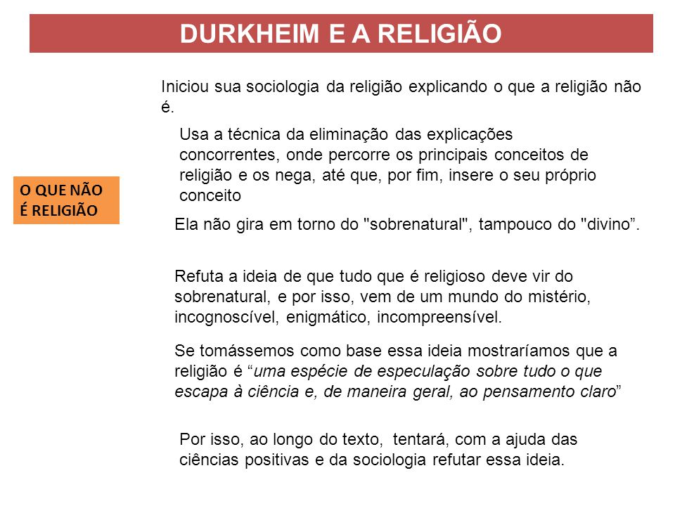 DURKHEIM E A RELIGIÃO Iniciou sua sociologia da religião explicando o que a religião não é.
