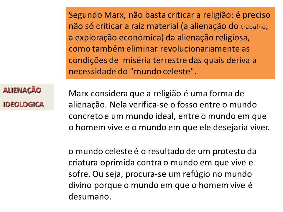 Segundo Marx, não basta criticar a religião: é preciso não só criticar a raiz material (a alienação do trabalho, a exploração económica) da alienação religiosa, como também eliminar revolucionariamente as condições de miséria terrestre das quais deriva a necessidade do mundo celeste .
