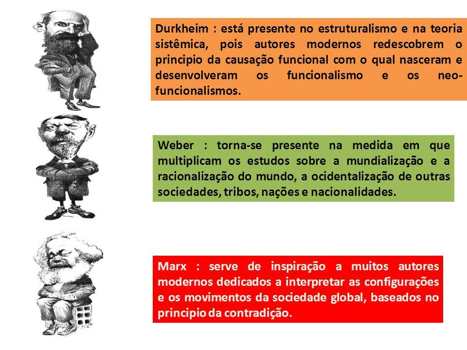 Durkheim : está presente no estruturalismo e na teoria sistêmica, pois autores modernos redescobrem o principio da causação funcional com o qual nasceram e desenvolveram os funcionalismo e os neo-funcionalismos.