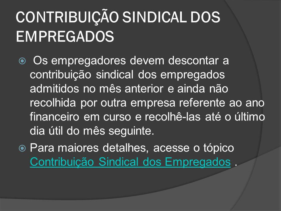CONTRIBUIÇÃO SINDICAL DOS EMPREGADOS