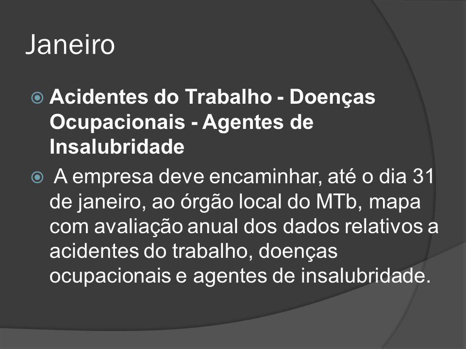 Janeiro Acidentes do Trabalho - Doenças Ocupacionais - Agentes de Insalubridade.