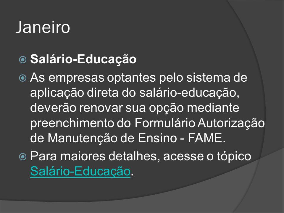 Janeiro Salário-Educação