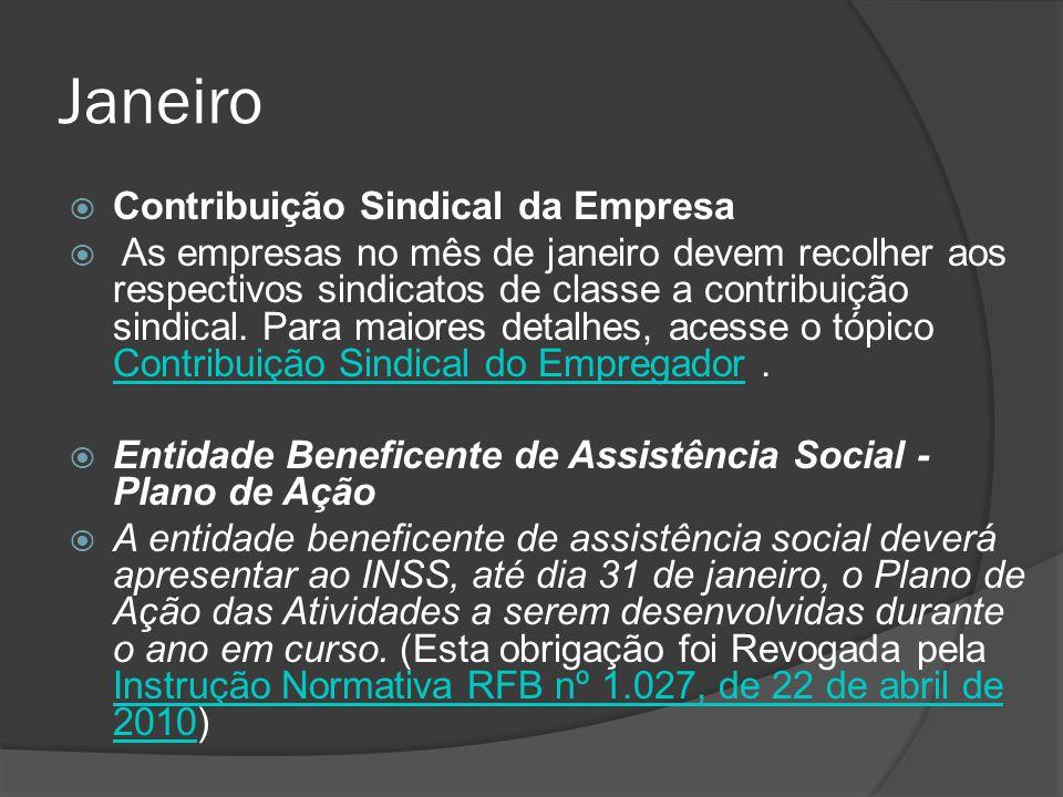 Janeiro Contribuição Sindical da Empresa