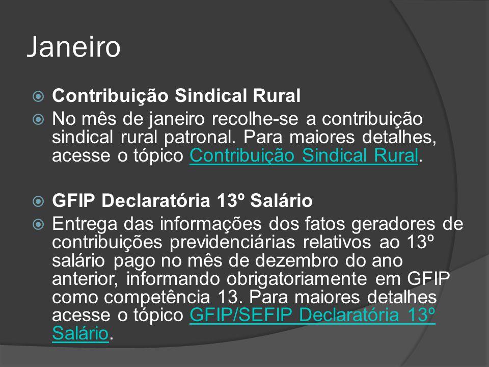 Janeiro Contribuição Sindical Rural