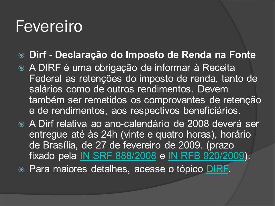 Fevereiro Dirf - Declaração do Imposto de Renda na Fonte