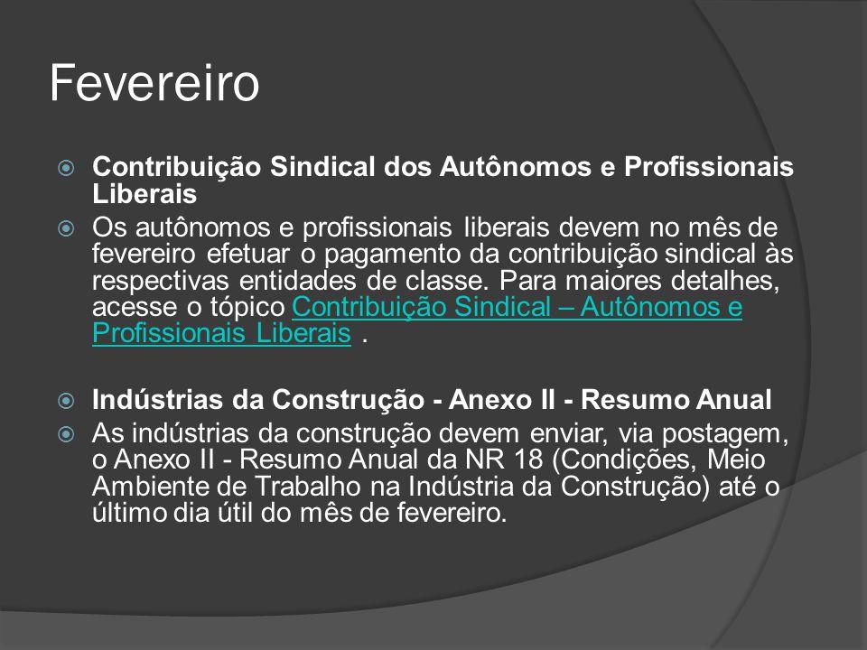 Fevereiro Contribuição Sindical dos Autônomos e Profissionais Liberais