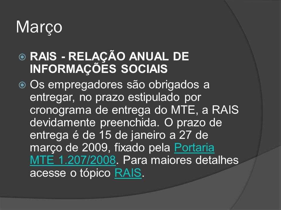 Março RAIS - RELAÇÃO ANUAL DE INFORMAÇÕES SOCIAIS