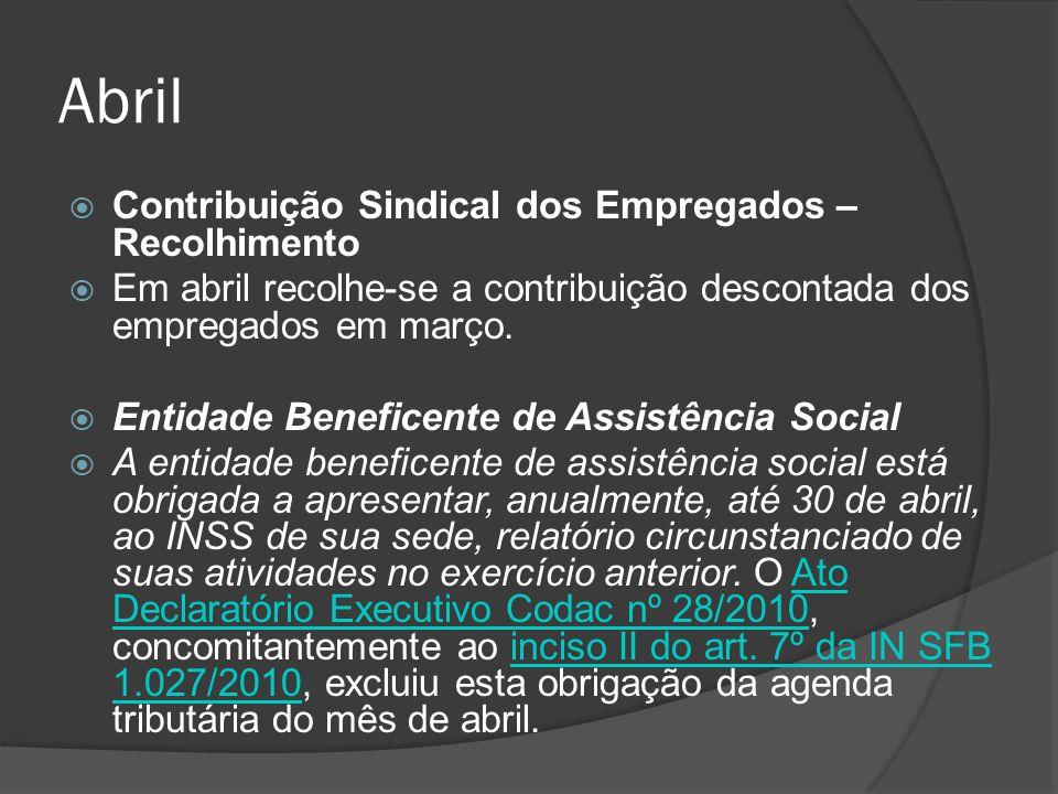 Abril Contribuição Sindical dos Empregados – Recolhimento