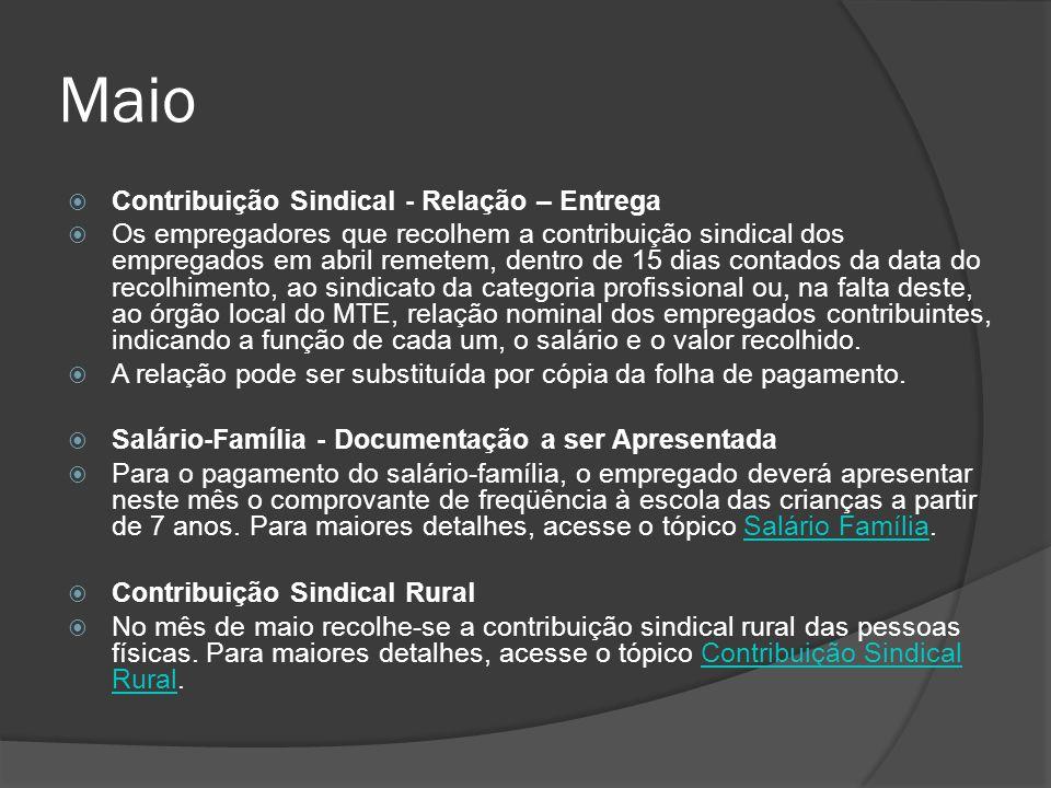Maio Contribuição Sindical - Relação – Entrega