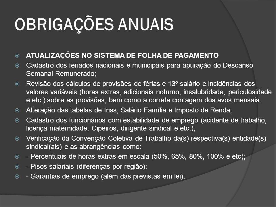 OBRIGAÇÕES ANUAIS ATUALIZAÇÕES NO SISTEMA DE FOLHA DE PAGAMENTO