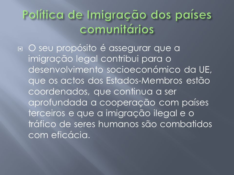 Política de Imigração dos países comunitários
