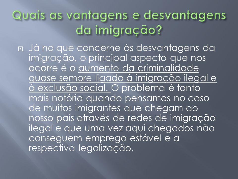Quais as vantagens e desvantagens da imigração