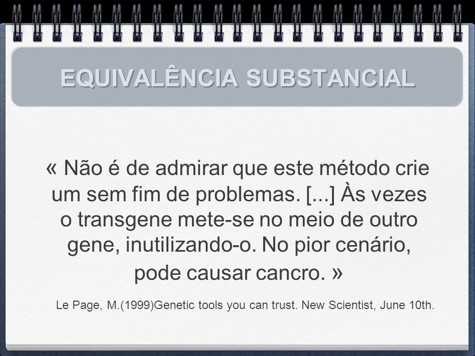 EQUIVALÊNCIA SUBSTANCIAL