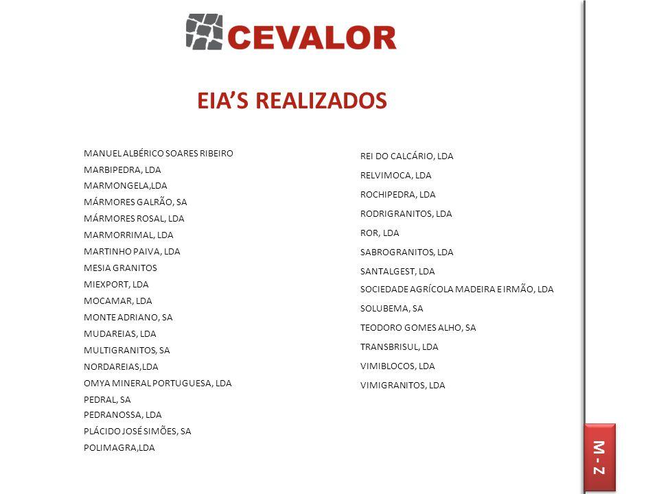 EIA'S REALIZADOS M - Z MANUEL ALBÉRICO SOARES RIBEIRO MARBIPEDRA, LDA