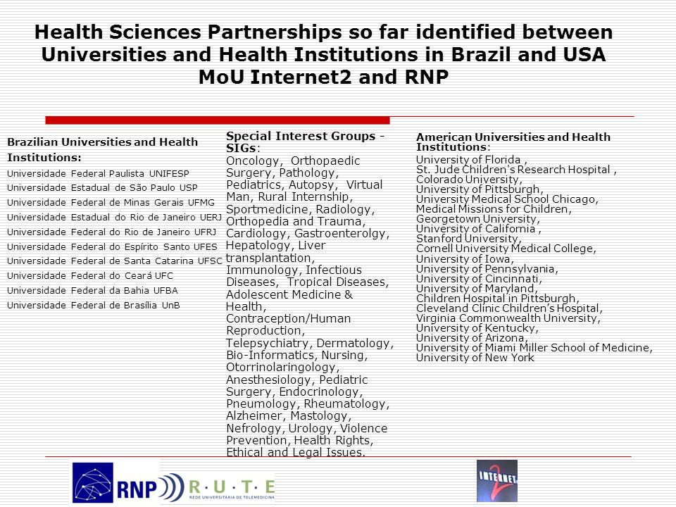 Health Sciences Partnerships so far identified between Universities and Health Institutions in Brazil and USA MoU Internet2 and RNP