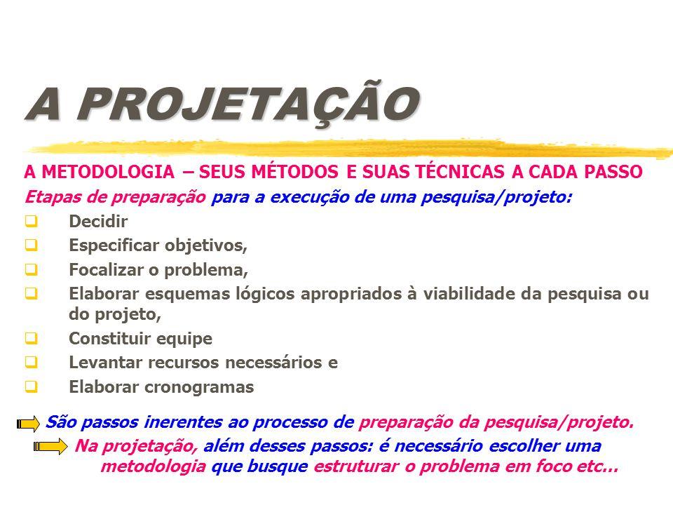 São passos inerentes ao processo de preparação da pesquisa/projeto.