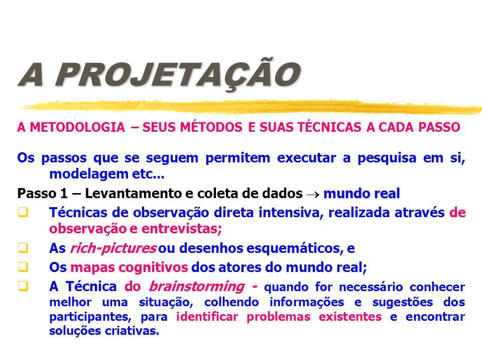 A PROJETAÇÃO A METODOLOGIA – SEUS MÉTODOS E SUAS TÉCNICAS A CADA PASSO. Os passos que se seguem permitem executar a pesquisa em si, modelagem etc...