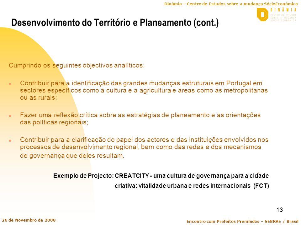 Desenvolvimento do Território e Planeamento (cont.)