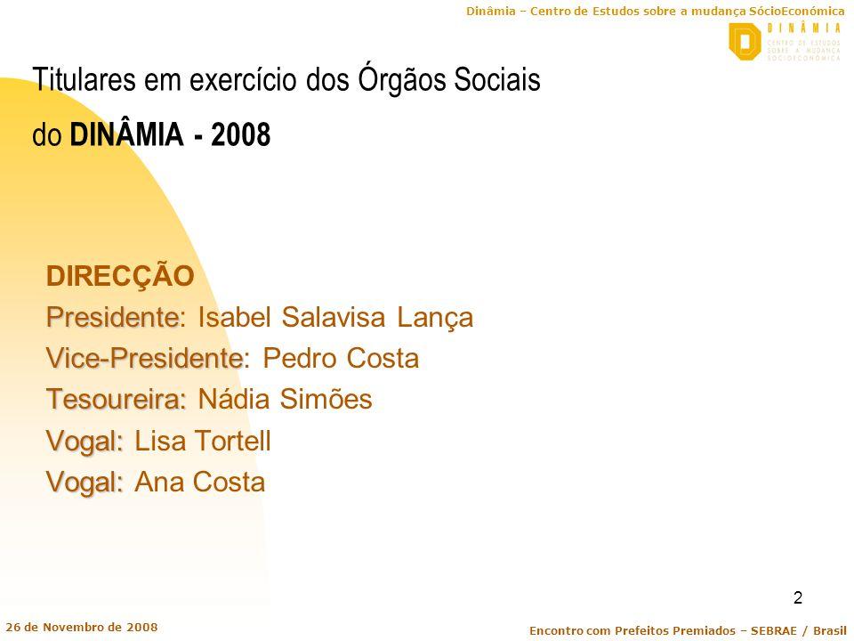 Titulares em exercício dos Órgãos Sociais do DINÂMIA - 2008