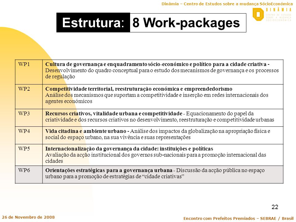 Estrutura: 8 Work-packages WP1