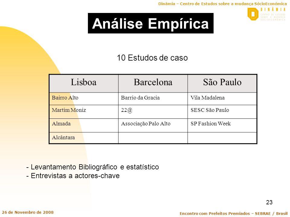 Análise Empírica Lisboa Barcelona São Paulo 10 Estudos de caso