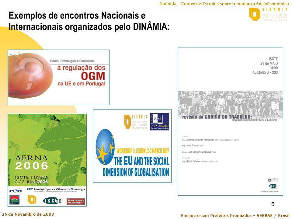 Exemplos de encontros Nacionais e Internacionais organizados pelo DINÂMIA: