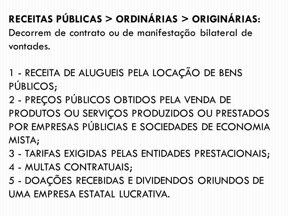 RECEITAS PÚBLICAS > ORDINÁRIAS > ORIGINÁRIAS: