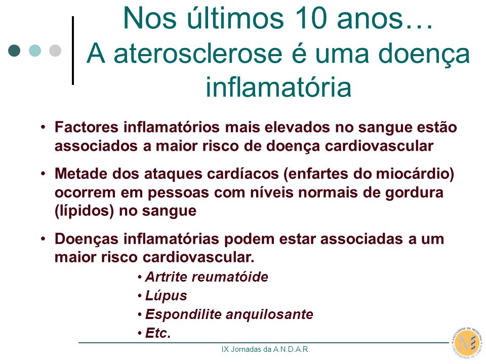 Nos últimos 10 anos… A aterosclerose é uma doença inflamatória