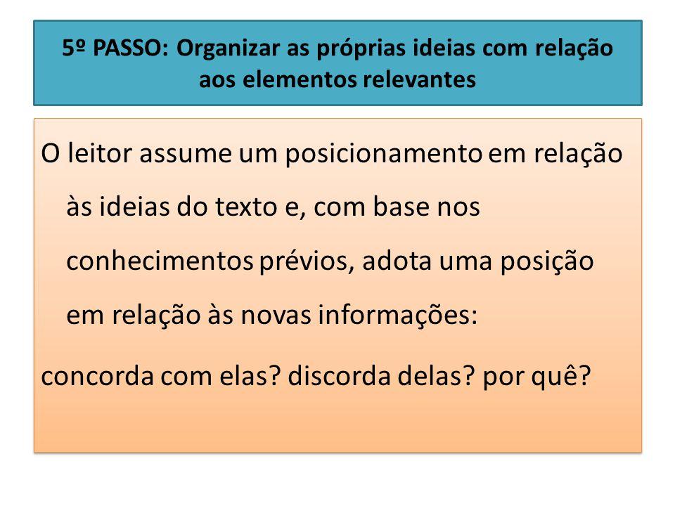 5º PASSO: Organizar as próprias ideias com relação aos elementos relevantes
