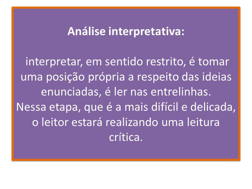 Análise interpretativa: interpretar, em sentido restrito, é tomar uma posição própria a respeito das ideias enunciadas, é ler nas entrelinhas.