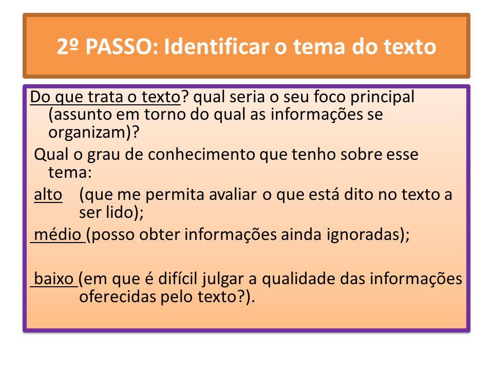 2º PASSO: Identificar o tema do texto