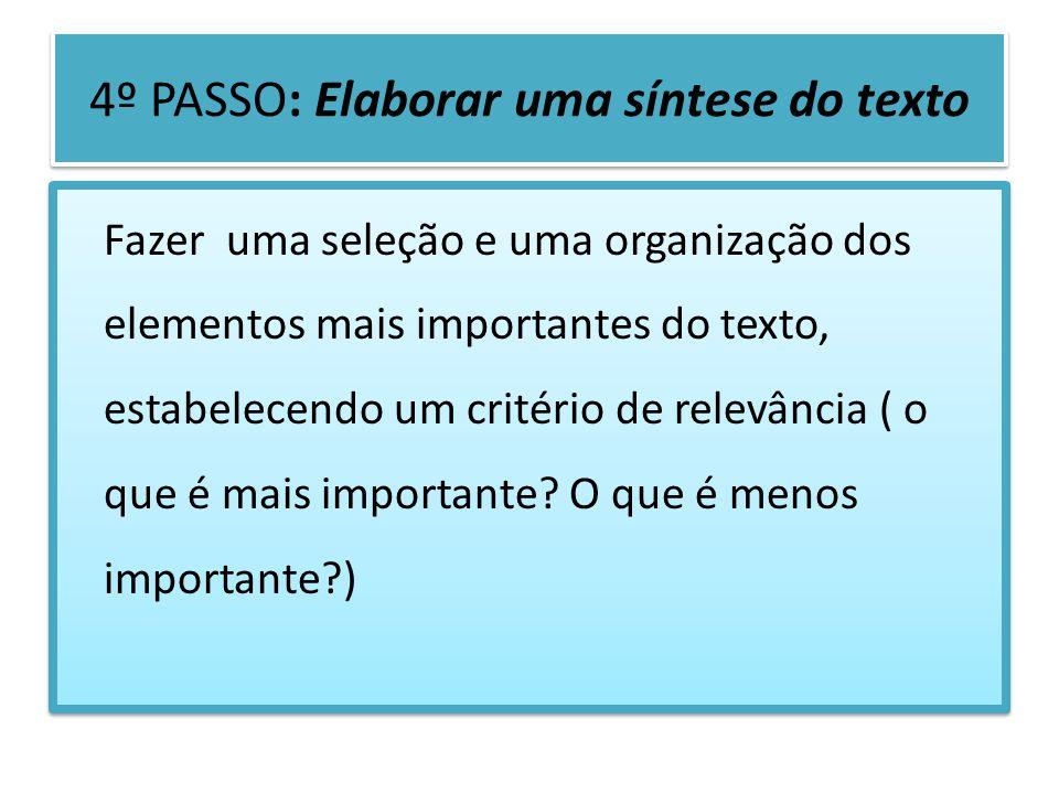 4º PASSO: Elaborar uma síntese do texto