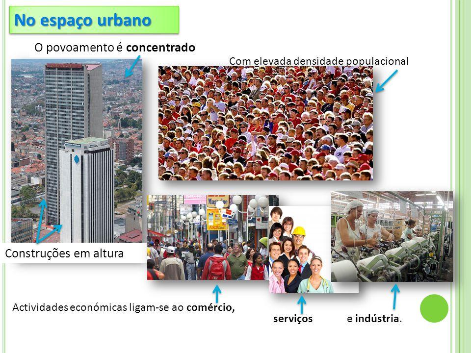 No espaço urbano O povoamento é concentrado Construções em altura
