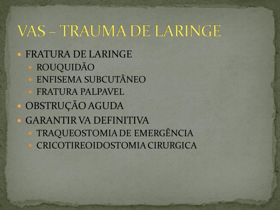 VAS – TRAUMA DE LARINGE FRATURA DE LARINGE OBSTRUÇÃO AGUDA
