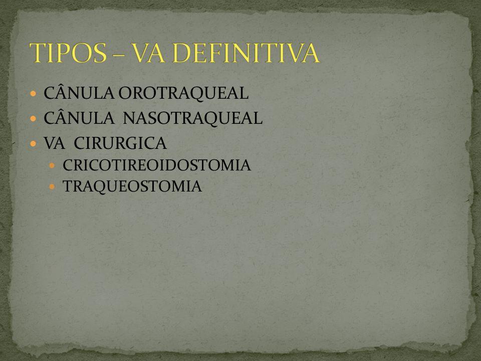 TIPOS – VA DEFINITIVA CÂNULA OROTRAQUEAL CÂNULA NASOTRAQUEAL