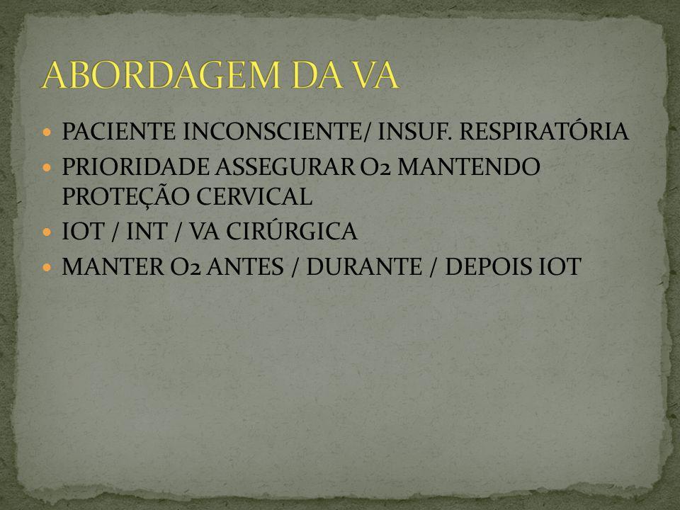 ABORDAGEM DA VA PACIENTE INCONSCIENTE/ INSUF. RESPIRATÓRIA
