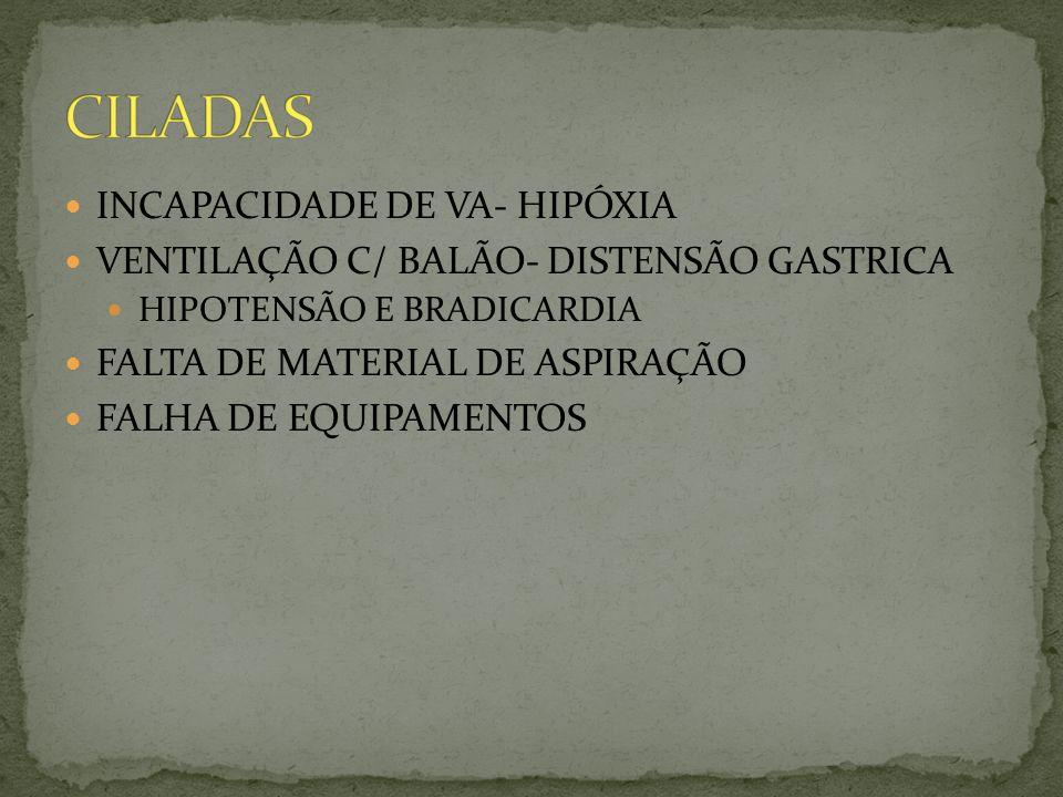 CILADAS INCAPACIDADE DE VA- HIPÓXIA