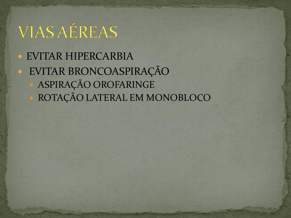 VIAS AÉREAS EVITAR HIPERCARBIA EVITAR BRONCOASPIRAÇÃO