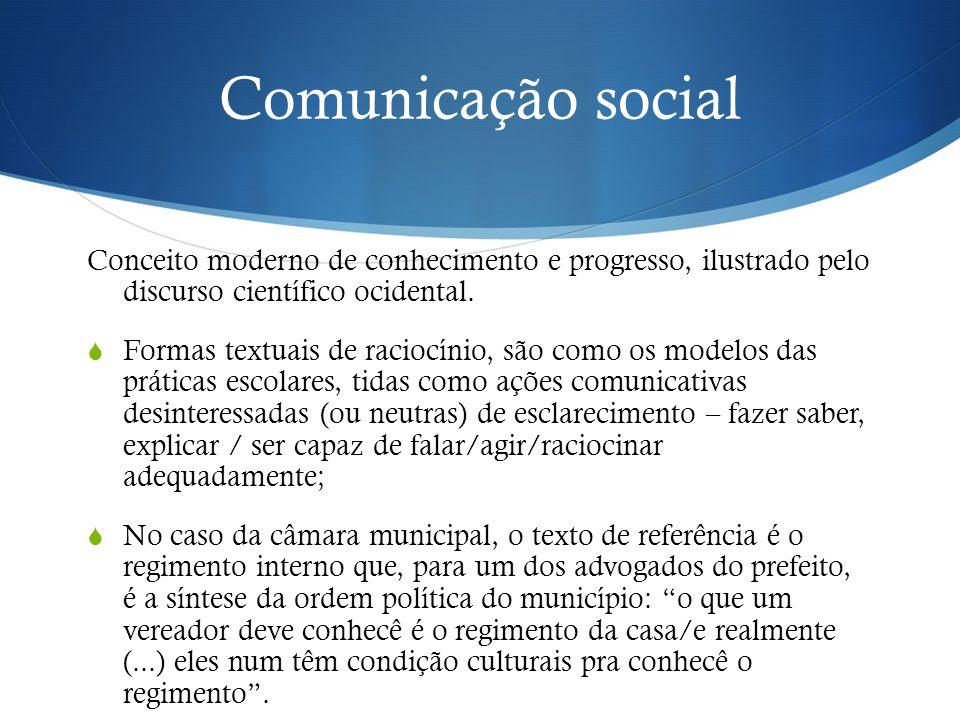 Comunicação social Conceito moderno de conhecimento e progresso, ilustrado pelo discurso científico ocidental.