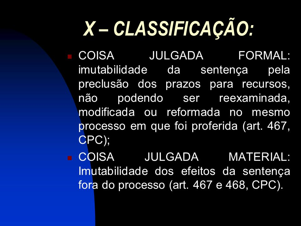 X – CLASSIFICAÇÃO: