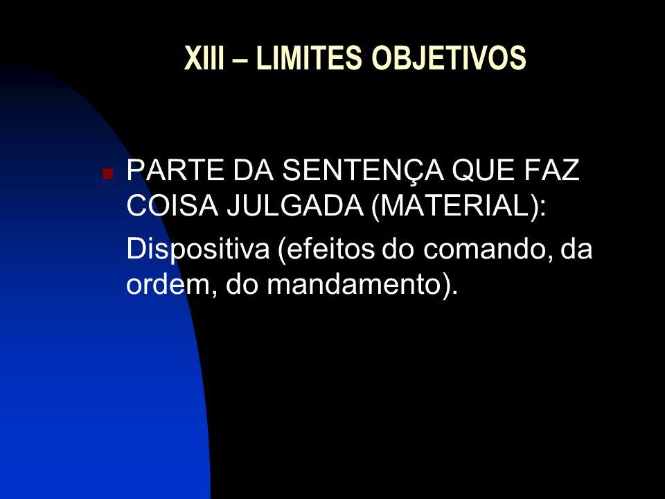 XIII – LIMITES OBJETIVOS