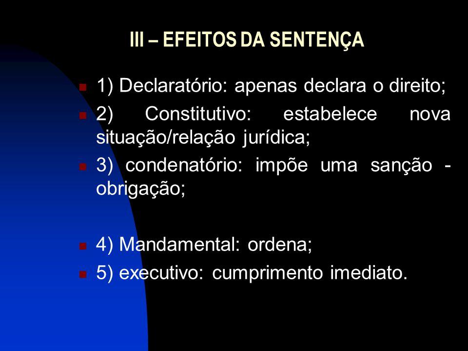 III – EFEITOS DA SENTENÇA