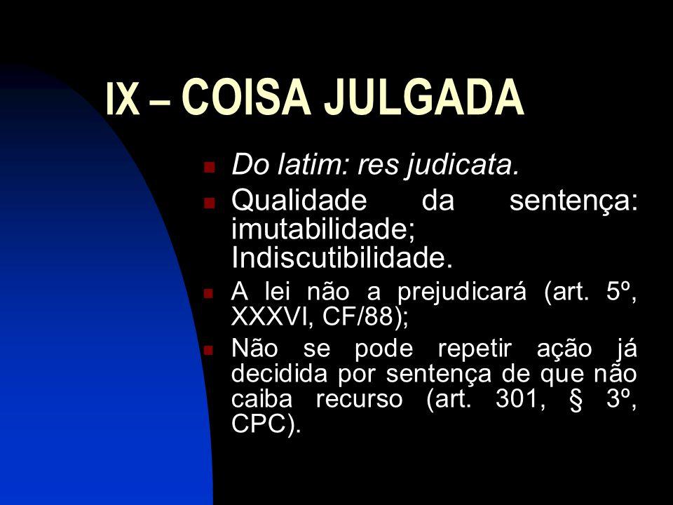 IX – COISA JULGADA Do latim: res judicata.