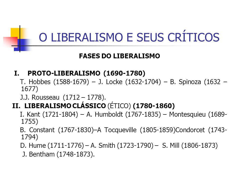 O LIBERALISMO E SEUS CRÍTICOS