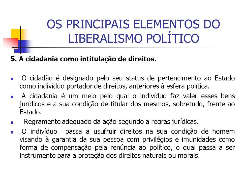 OS PRINCIPAIS ELEMENTOS DO LIBERALISMO POLÍTICO