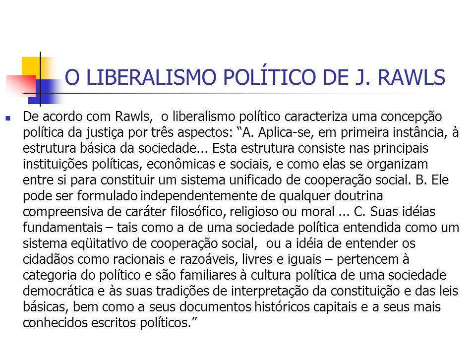 O LIBERALISMO POLÍTICO DE J. RAWLS