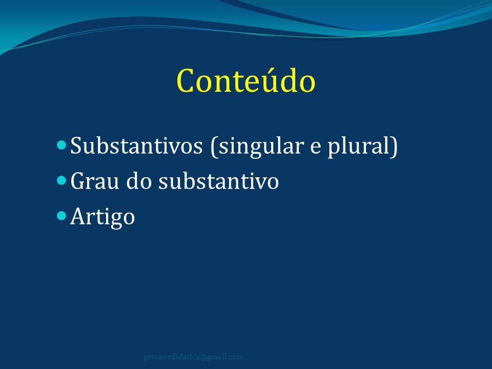 Conteúdo Substantivos (singular e plural) Grau do substantivo Artigo