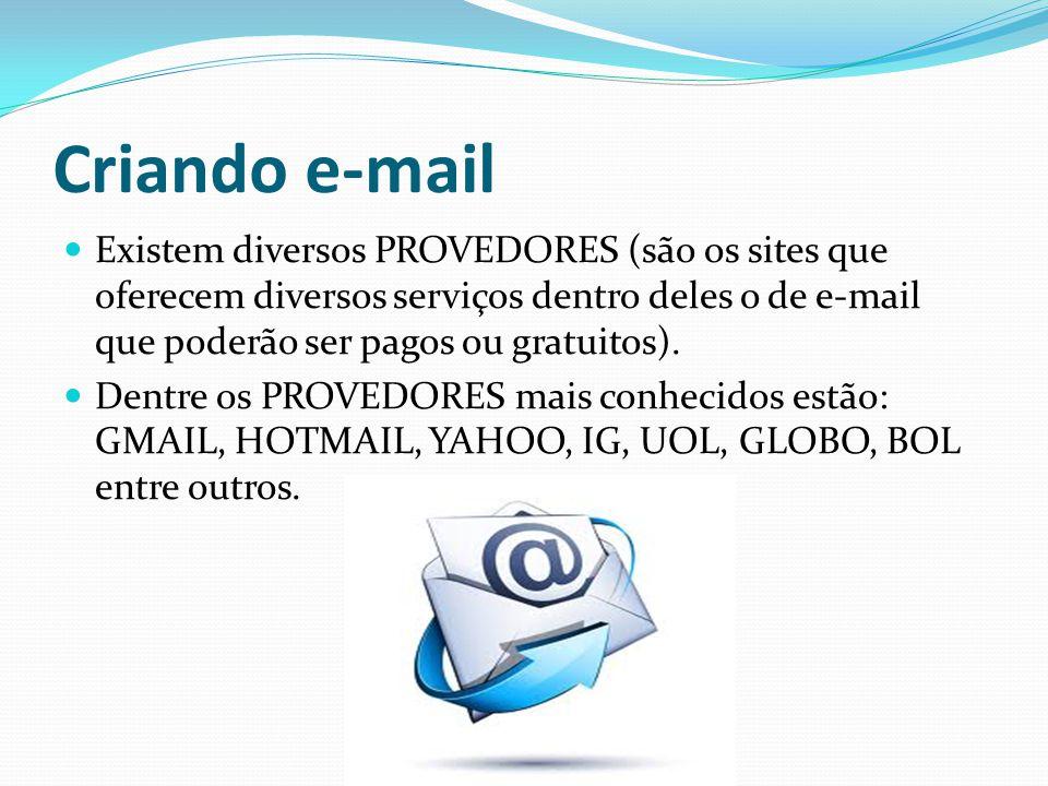 Criando e-mail Existem diversos PROVEDORES (são os sites que oferecem diversos serviços dentro deles o de e-mail que poderão ser pagos ou gratuitos).